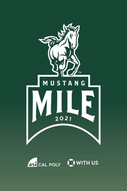 "Image with a mustang graphic that says ""Mustang Mile 2021"""