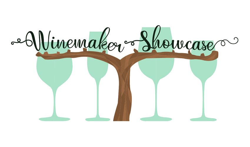 "Graphic of Wine glasses and the words ""Winemaker Showcase"""