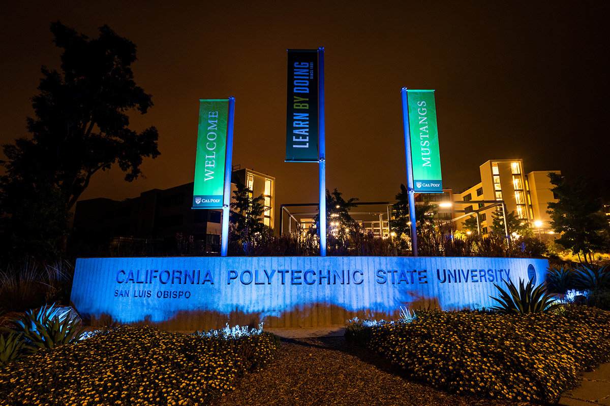 The Grand entrance to Cal Poly is illuminated in blue to thank healthcare workers on the frontlines of the coronavirus pandemic.