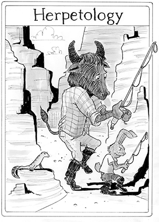 Black and white drawing of buffalo and a rabbit hold fishing poles with loops on the end while a lizard watches them from a rock.
