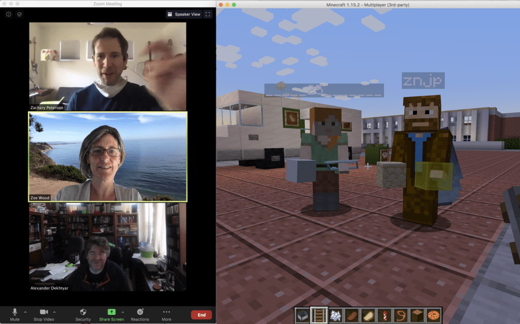 Three professors talk in a video chat window while their digital avatars meet in a couryard designed in MInecraft.
