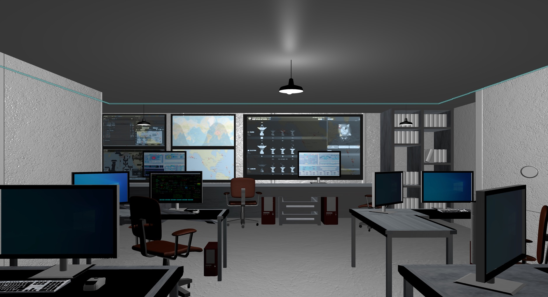 A virtual rendering of a satellite command center, featuring empty desks and large computer monitors