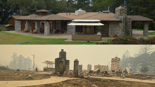 Above, a large stone house sits on a field of green grass. Below, the same house is burned to the ground.