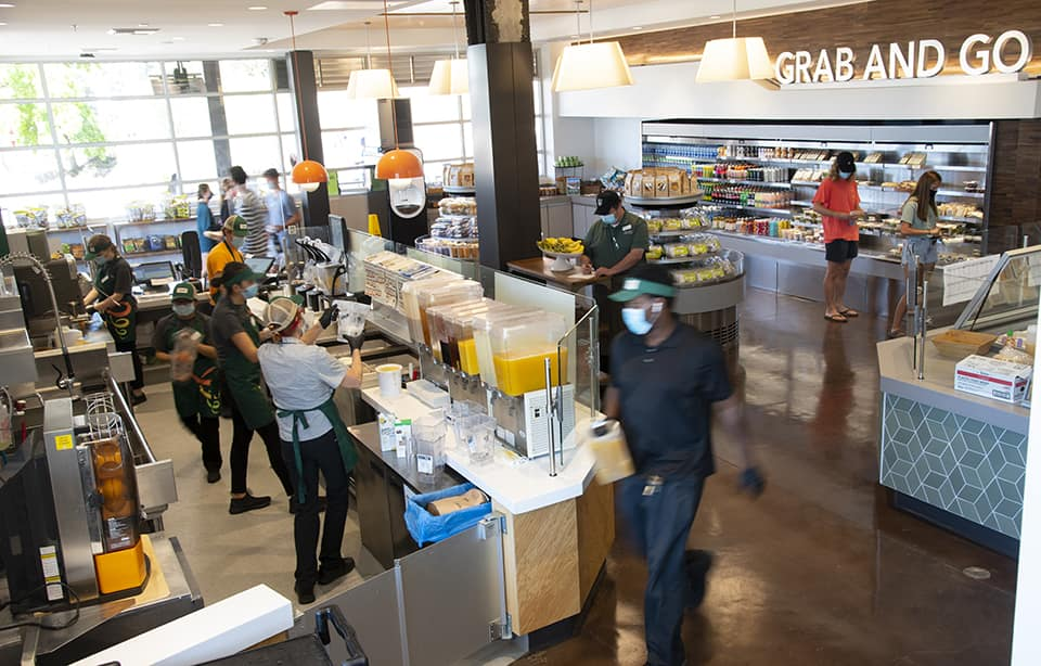 A bustling, modern market space and smoothie bar in the new Vista Grande dining complex