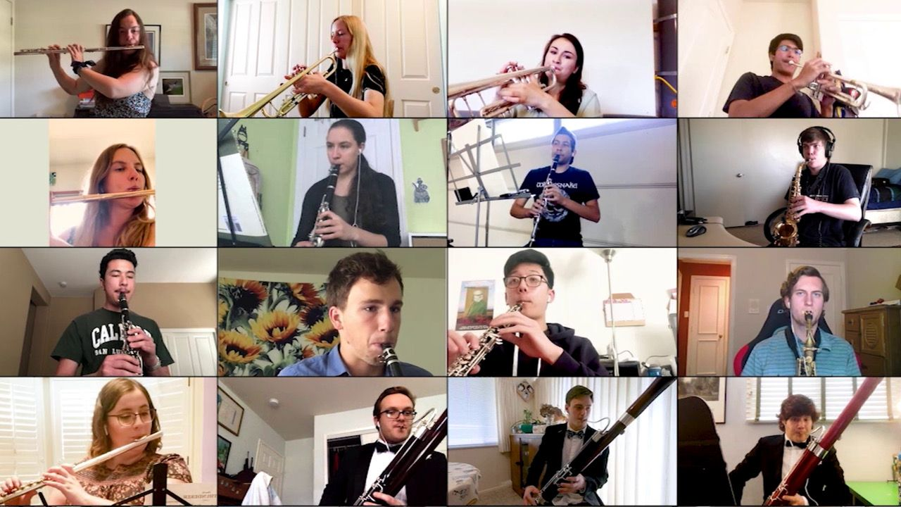Image of band students in a Zoom grid