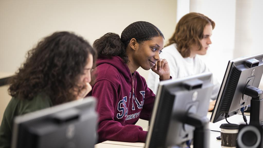 Students work in their ECON 395 - Programming for Economics and Analytics class.