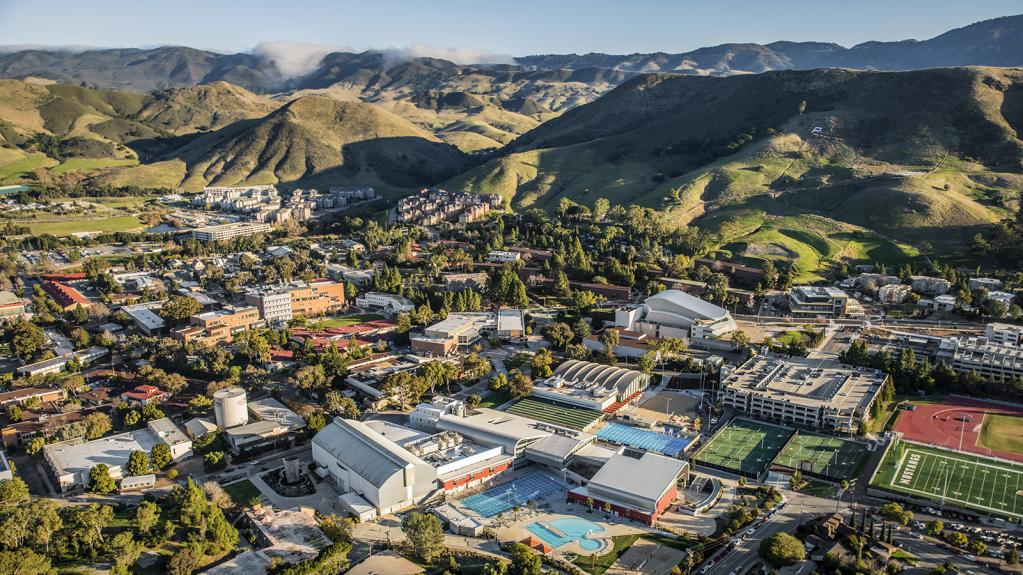 A photo of Cal Poly taken from a plane, showing much of the main campus and hills