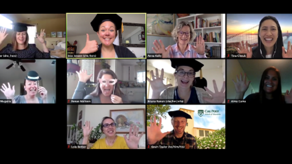 School of Education faculty and staff congratulating spring 2020 graduates of Cal Poly's teaching credential program over Zoom.